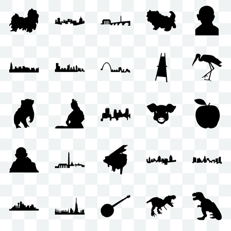 Set Of 25 transparent icons such as t rex, banjo, dubai, dallas, stork, pig face, grand piano, gandhi, chicago, dc, pittsburgh, web UI transparency icon pack Illustration