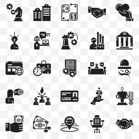 Set Of 25 transparent icons such as Handshake, Chair, Placeholder, Money, Investment, Bank, Meeting, Card, Translator, Creative, Cash, Building, web UI transparency icon pack