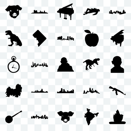 Set Of 25 transparent icons such as lord shiva, india map, pig face, denver, banjo, grand piano, t rex, shih tzu, fort worth, web UI transparency icon pack
