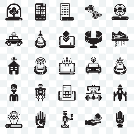 Set Of 25 transparent icons such as Wi gloves, Telekinesis, Robot, Phone call, Hologram, Flying shoes, Car, Smartphone, web UI transparency icon pack
