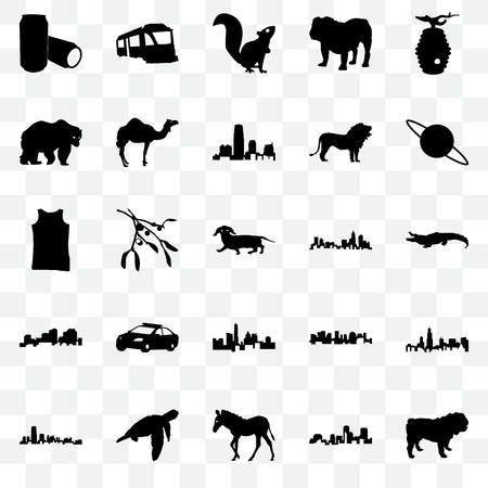 Set Of 25 transparent icons such as dog, louisiana, zebra, sea turtle, new jersey, saturn, north carolina state, state of texas, bear, , train, web UI transparency icon pack