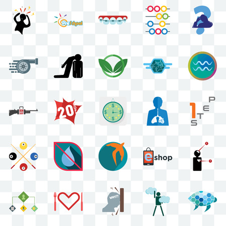 Set Of 25 transparent icons such as sea turtle, ambition, frustration, appetite, order management, aquarius, inflammation, swift, snooker, turbo, orthodontist, preschool, web UI transparency icon pack