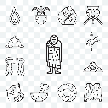 Set Of 13 transparent editable icons such as Troglodyte, Skin, Wheel, Plate, Saber toothed tiger, Dinosaur egg, Stonehenge, Fishing, House, web ui icon pack Illustration