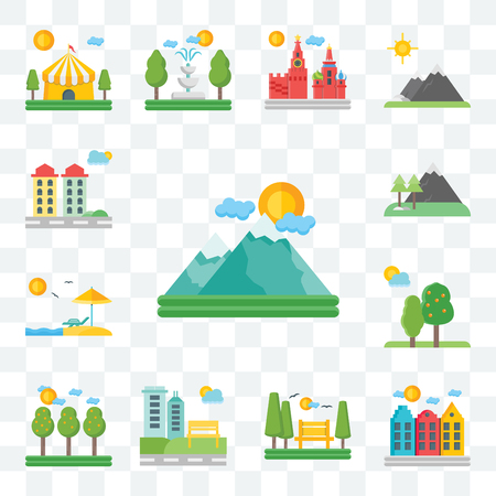 Set Of 13 transparent editable icons such as Mountains, Amsterdam, Park, Field, Trees, Beach, City, web ui icon pack