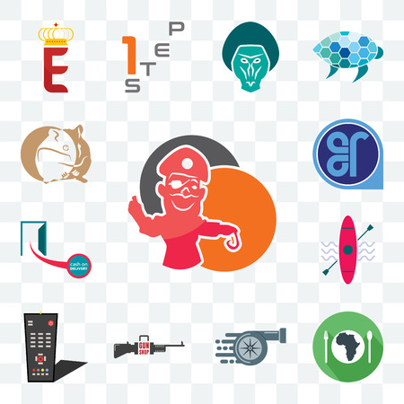 Set Of 13 transparent editable icons such as pirate mascot, hunger, turbo, gun shop, tv remote, kayak, cash on delivery, er, hamster, web ui icon pack