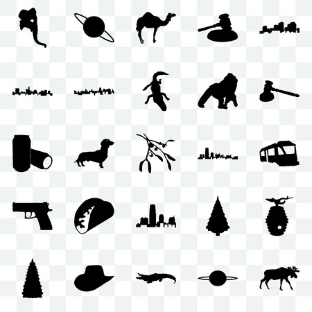 Set Of 25 transparent icons such as moose, saturn, alligator, cowboy hat, christmas tree, gavel, new jersey, handgun, state of texas, camel, web UI transparency icon pack