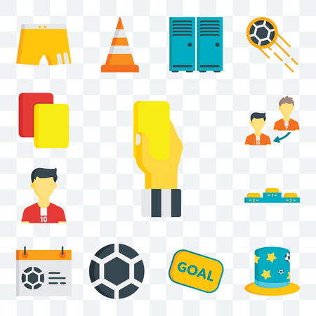 Set Of 13 transparent editable icons such as card, Hat, Goal, Ball, Calendar, Podium, Soccer player, Player substitution, Cards, web ui icon pack Ilustración de vector
