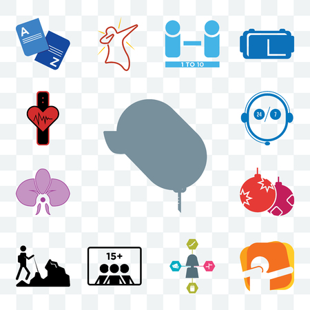 Set Of 13 transparent editable icons such as car dealer, dab, travel agent, number of players, hiker, christmas bulb, orchid, live support, tracker, web ui icon pack Illustration