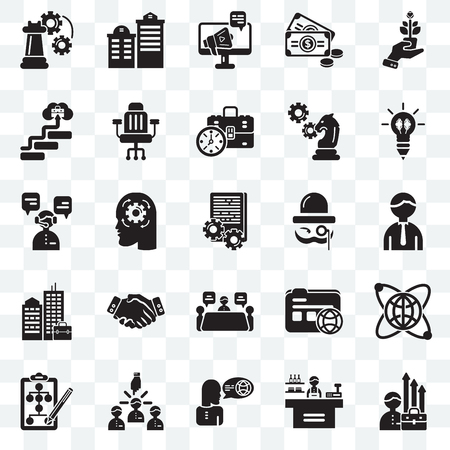 Set Of 25 transparent icons such as Growth, Store, Translator, Leader, Flow chart, Creativity, Sir, Meeting, Building, Career, Advertising, web UI transparency icon pack