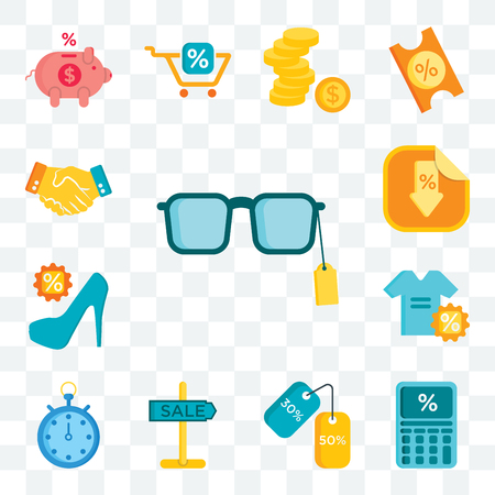Set Of 13 transparent editable icons such as Sunglasses, Calculator, Discounts, Sale, Chronometer, Shirt, High heels, Sticker, Shaking hands, web ui icon pack