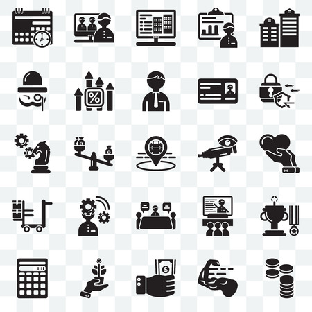 Set Of 25 transparent icons such as Cash, Strength, Investment, Growth, Calculator, Padlock, Telescope, Meeting, Logistics, Sir, Website, Video conference, web UI transparency icon pack Stock Illustratie