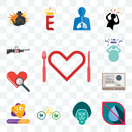 Set Of 13 transparent editable icons such as appetite, no water, baboon, commodities, 3rd anniversary, online form, cholesterol, obesity, gun shop, web ui icon pack