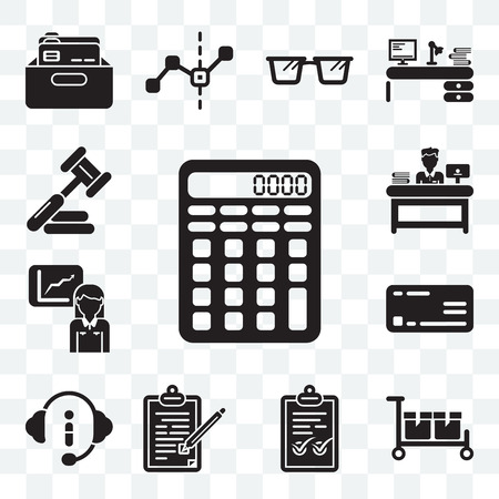 Set Of 13 transparent editable icons such as Calculating, Packing, Check mark, Contract, Customer service, Rectangular, Stats, Administrator, Judging, web ui icon pack