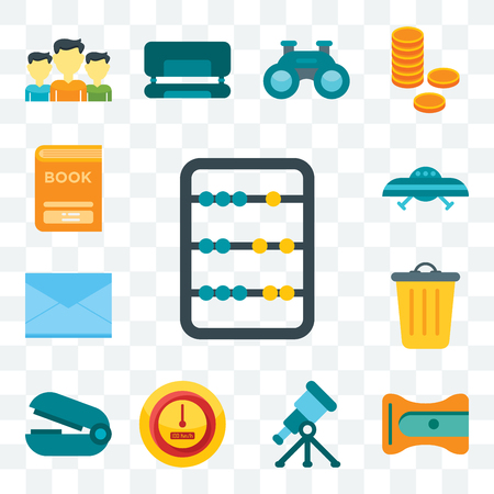 Set Of 13 transparent editable icons such as Abacus, Sharpener, Telescope, Speedometer, Stapler remover, Basket, Letters, Ufo, Book, web ui icon pack