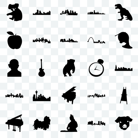 Set Of 25 transparent icons such as pig face, fort worth, lord shiva, shih tzu, grand piano, french horn, pocket watch, denver, apple, florida, web UI transparency icon pack