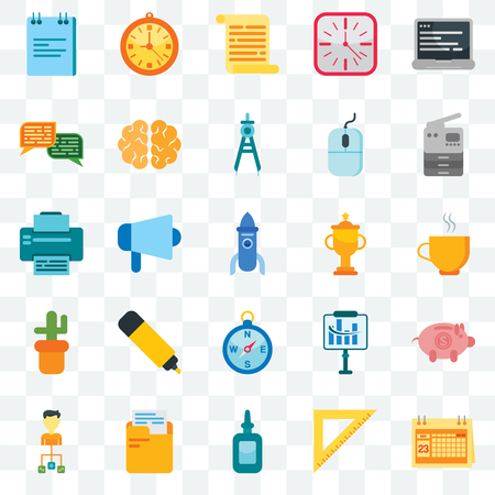 Set Of 25 transparent icons such as Calendar, Ruler, Glue, Folder, Organization, Copier, Trophy, Compass, Cactus, Chat, Document, Clock, web UI transparency icon pack 矢量图像