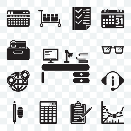 Set Of 13 transparent editable icons such as Studying, Line graph, Contract, Calculating, Writer, Customer service, Maps and Flags, Reading glasses, Office material, web ui icon pack