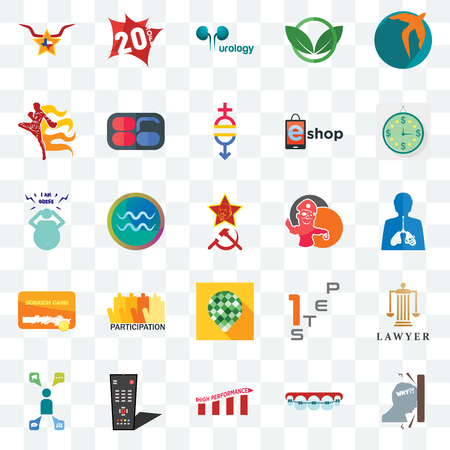 Set Of 25 transparent icons such as frustration, inflammation, estimate, 20% off, campaign management, 86, step 1, obesity, web UI transparency icon pack, pixel perfect Banco de Imagens - 108579971