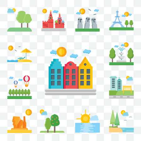Set Of 13 transparent editable icons such as Amsterdam, Lake, Sunset, Trees, Grand canyon, Park, Hot air balloon, Fountain, Beach, web ui icon pack Illustration