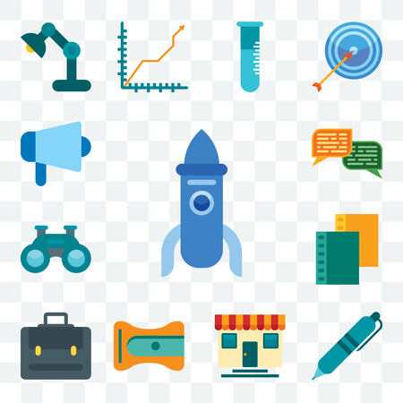 Set Of 13 transparent editable icons such as Rocket, Pen, Store, Sharpener, Portfolio, Folder, Binoculars, Chat, Megaphone, web ui icon pack