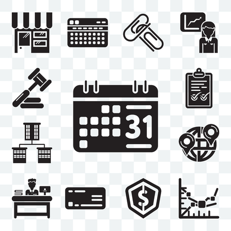 Set Of 13 transparent editable icons such as Weekly calendar, Line graph, Dollar, Rectangular, Administrator, Maps and Flags, Offices, Check mark, Judging, web ui icon pack