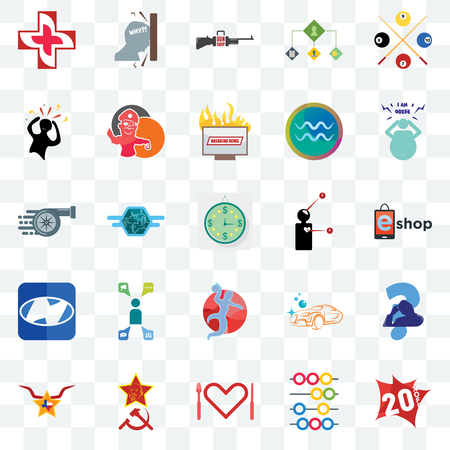 Set Of 25 transparent icons such as 20% off, abacus, appetite, texas star, obesity, symptoms, handball, h, panic, gun shop, frustration, web UI transparency icon pack