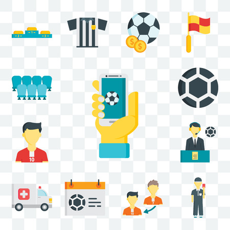 Set Of 13 transparent editable icons such as App, Referee, Player substitution, Calendar, Ambulance, Commentator, Soccer player, Ball, Seats, web ui icon pack Foto de archivo - 111897835