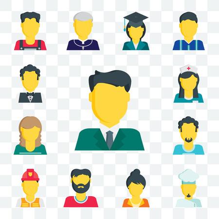 Conjunto de 13 iconos editables transparentes como empresario, chef, mujer, hombre, bombero, enfermera, camarero, paquete de iconos de interfaz de usuario web
