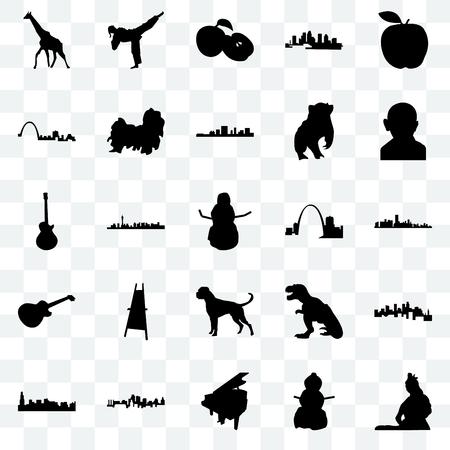 Set Of 25 transparent icons such as lord shiva, snowman, grand piano, kansas city, chicago, gandhi, missouri, boxer dog, image les paul, st louis, apple, karate kick, web UI transparency icon pack Vektoros illusztráció