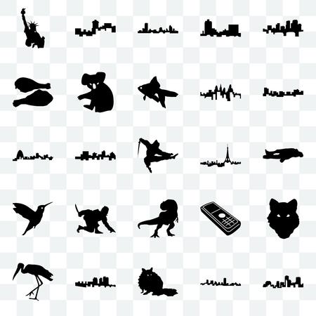 Set Of 25 transparent icons such as louisiana, maryland, raccoon, haiti, stork, jamaica, paris, t rex, hummingbird, turkey leg, wisconsin, montana, web UI transparency icon pack Illustration