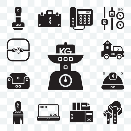 Set Of 13 transparent editable icons such as Kilograms, Trees, Archives, Tools and utensils, Work tools, Worker, Sit down, Trucks, Electric, web ui icon pack Vector Illustration