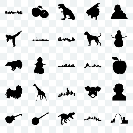 Set Of 25 transparent icons such as missouri, pittsburgh, t rex, banjo, image les paul, snowman, seattle, shih tzu, karate kick, apple, web UI transparency icon pack