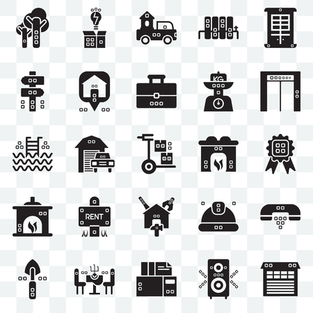Set Of 25 transparent icons such as Metallic blind, Single, Archives, Chairs, Garden work, Up, Hearth, Reparation, Fireplace, Panel, Trucks, Invention, web UI transparency icon pack Illusztráció