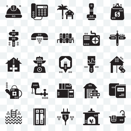 Set Of 25 transparent icons such as Relax, Fireplace, Electric, Door, Step ladder, Maps and Flags, Painted, Archives, Gardening, Panel, Rent, Domestic phone, web UI transparency icon pack