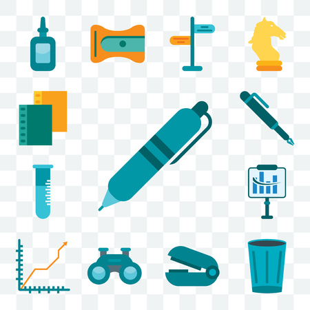 Set Of 13 transparent editable icons such as Pen, Basket, Stapler remover, Binoculars, Diagram, Flask, Folder, web ui icon pack Illustration
