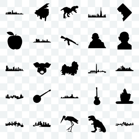 Set Of 25 transparent icons such as kansas city, t rex, stork, florida, minnesota, gandhi, dc, cincinnati, pittsburgh, apple, grand piano, web UI transparency icon pack Illustration