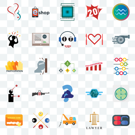 Set Of 25 transparent icons such as 86, lawyer, tow truck, snooker, scratch card, turbo, high performance, scratching head, symptoms, panic, sem, eshop, web UI transparency icon pack