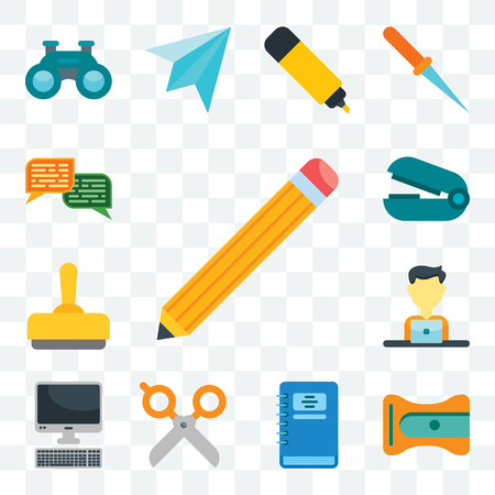 Set Of 13 transparent editable icons such as Pencil, Sharpener, Notebook, Scissors, Computer, Employee, Stamp, Stapler remover, Chat, web ui icon pack
