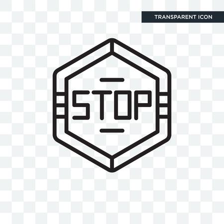 透明な背景に分離された六角形のイラストアイコンを停止