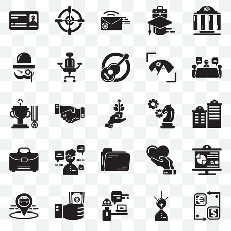 Set Of 25 transparent icons such as Cash, Creative, Customer support, Investment, Placeholder, Meeting, Strategy, Folder, Suitcase, Sir, Email, Target, web UI transparency icon pack 矢量图像