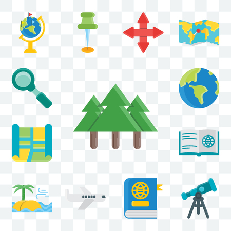 Set Of 13 transparent editable icons such as Tree, Telescope, Book, Plane, Sea, Street map, Globe, Search, web ui icon pack