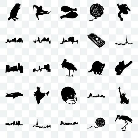 Ensemble de 25 icônes transparentes telles que cigogne, boule de fil, Jamaïque, Paris, Haïti, raton laveur, casque de football, craie, Louisiane, jambe de Turquie, ninja, pack d'icônes de transparence de l'interface utilisateur Web