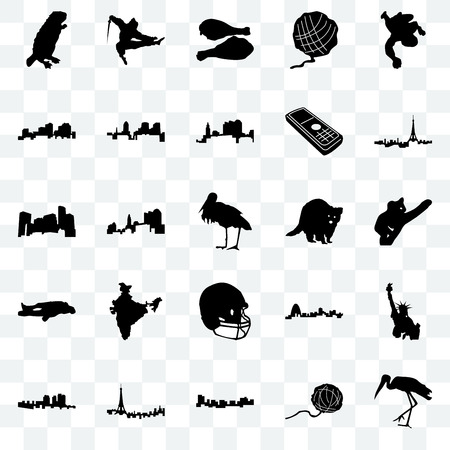 Set Of 25 transparent icons such as stork, yarn ball, jamaica, paris, haiti, raccoon, football helmet, chalk, louisiana, turkey leg, ninja, web UI transparency icon pack