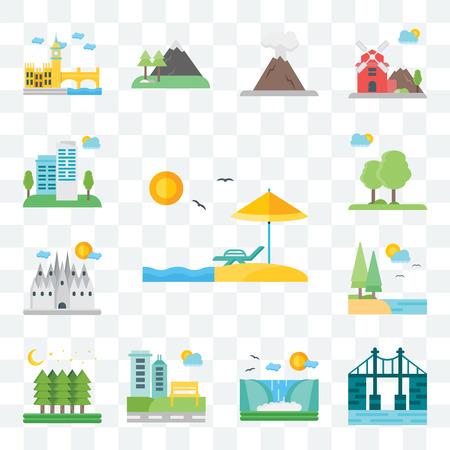 Set di 13 icone modificabili trasparenti come spiaggia, ponte, cascata, parco, foresta, lago, Barcellona, alberi, città, pacchetto di icone dell'interfaccia utente web Vettoriali