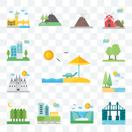 Set Of 13 transparent editable icons such as Beach, Bridge, Waterfall, Park, Forest, Lake, Barcelona, Trees, City, web ui icon pack