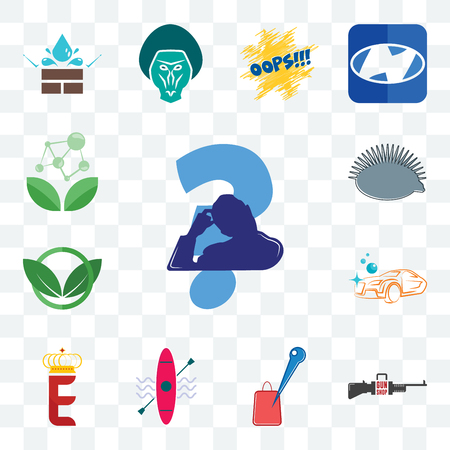Set Of 13 transparent editable icons such as scratching head, gun shop, store locator, kayak, e crown, carwash, eco club, hedgehog, antioxidant, web ui icon pack Illustration