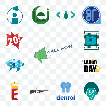 Set Of 13 transparent editable icons such as call now, baboon, dental, gun shop, e crown, labor day, sea turtle, sem, 20% off, web ui icon pack