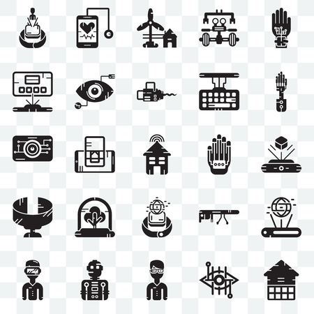 Set Of 25 transparent icons such as Eco house, Hologram, Mechanical arm, Stethoscope, Oculus rift, Eye scan, Google glasses, web UI transparency icon pack, pixel perfect Stock Vector - 106766089