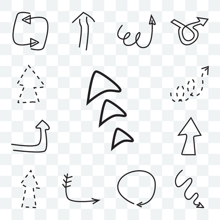 Set Of 13 transparent icons such as Arrowheads, Arrow with scribble, Clockwise drawn arrow, Down right Up broken line Turn up web ui editable icon pack, transparency set
