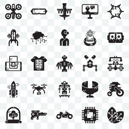 Set Of 25 transparent icons such as Renewable energy, Chip, Motorbike, Blaster, Tree, Vr glasses, Robot, Rocket, Jet pack, Drone,  web UI transparency icon pack